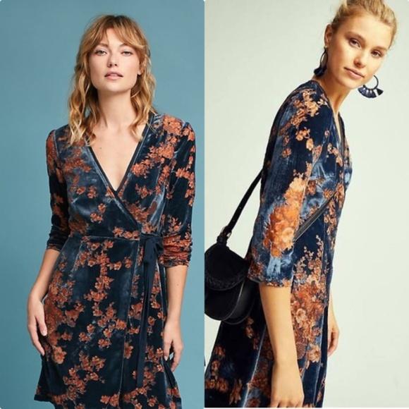 Anthropologie Dresses Velvet Burnout Wrap Dress Poshmark